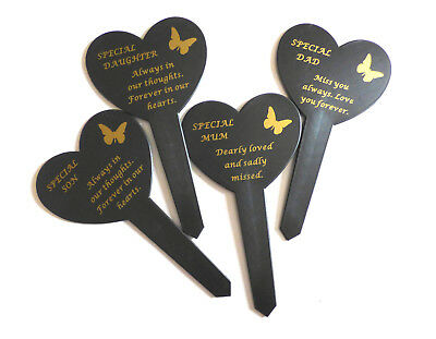 Black Plastic Heart Stake With Gold Letters Sadly Missed Garden Grave Graveside