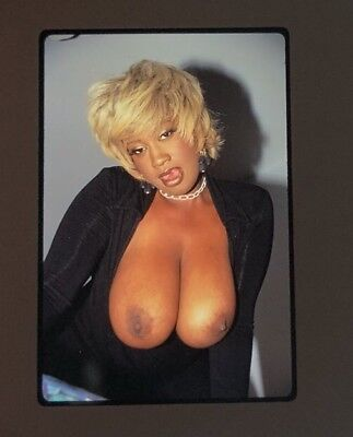 Nude Vintage Busty Black Classic Pin Up Model 35Mm Slide' Transparency