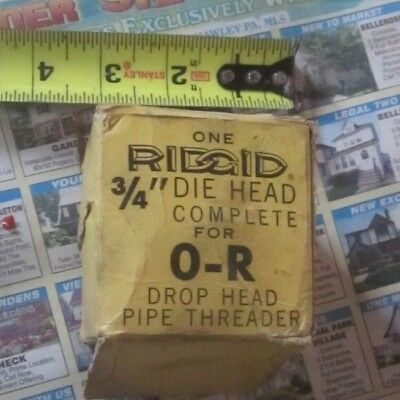 """Ridgid 3/4"""" Die Head complete for O-R Pipe for Drop head pipe Threader in box"""