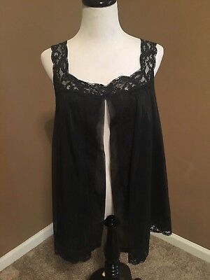 Vintage Shadowline nylon chiffon babydoll open front sissy gown 1960's nightgown