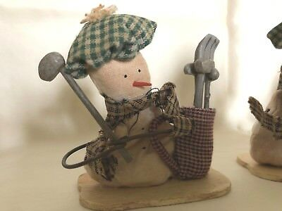 Set Of 3 Quirky Snowman Collectible-Golfing Snowman Figurines-Golf Clubs and Bag