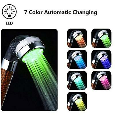 Shower Head LED Handheld 7 Color Changing Bathroom Spa Negative Ionic Double X