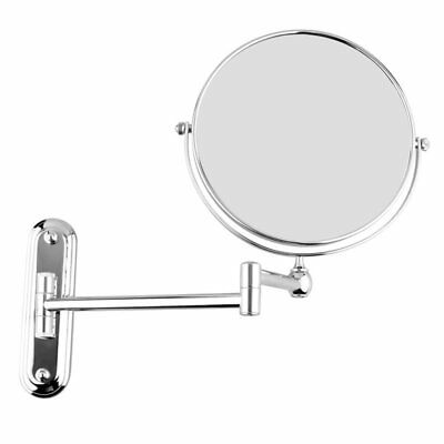 Silver Extending 8 inches cosmetic wall mounted make up mirror shaving bath Z9G4