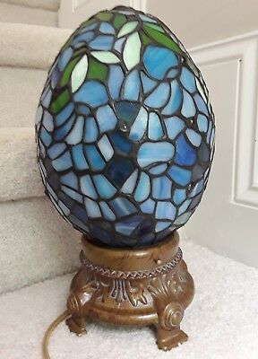 Tiffany Style Stained Leaded Glass Egg Lamp