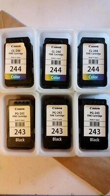 USED Canon Ink Cartridges 3 CL-244 and 3 PG-243 empty