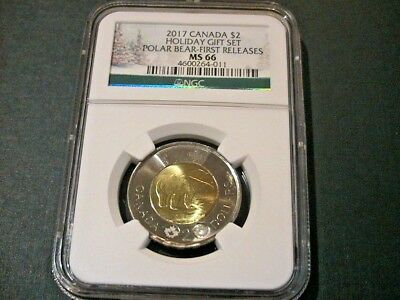 2017 Canada Ngc Ms 66 Polar Bear $2 First Releases Holiday Gift Set Label Toonie