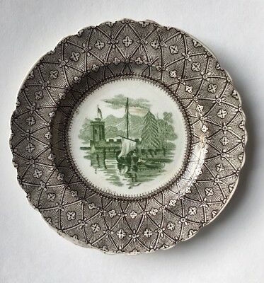 Rare Antique Staffordshire small PLATE; Brown & Green Transferware, circa 1820