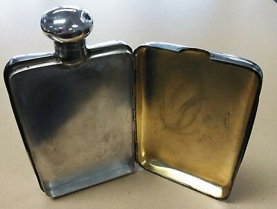 Antique Sterling Silver Flask & Cigarette Or ?? Storage Mappin & Webb London