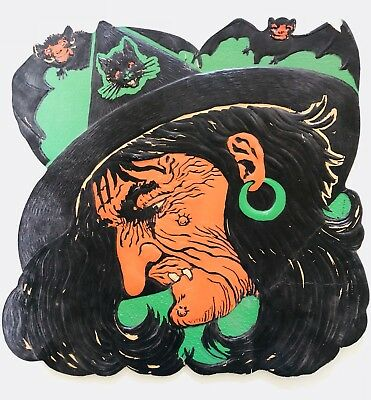 Vintage Beistle H.E. Luhrs Die Cut Embossed Witch Bat Cat Halloween Decoration
