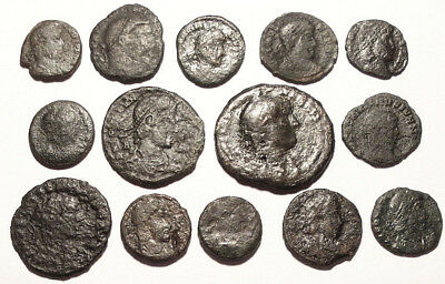 Lot of 14 Æ1-4 Ancient Roman Bronze Coins
