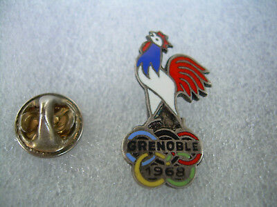 Rare Pin's Badge Noc French Grenoble 1968 Coq France Olympic Olympia Fraisse Jo