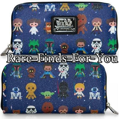 Disney Parks Star Wars as Baby Characters Zip-Around Loungefly Wallet (NEW/TAGS)