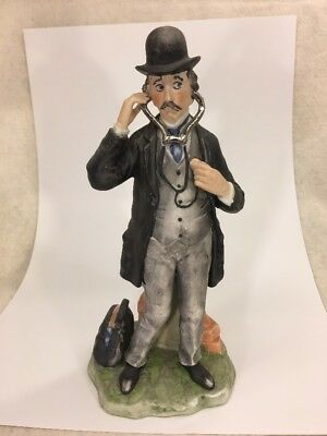 """DOCTOR with STETHOSCOPE FIGURINE by Pucci #3783 Italian Porcelain 8 3/4"""" Tall"""