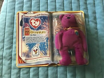 RARE McDonalds TY MILLENNIUM THE BEAR BEANIE BABY SEALED NEW IN BOX
