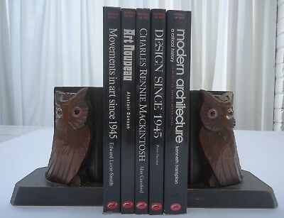 Vintage Black Forest Pair Wooden Owl Glass Eyes Bookends Carved Books Antique