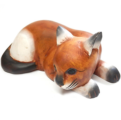 """Vintage Large Wooden Cat Sculpture Hand Carved & Painted Laying Down 11.5"""" Long"""