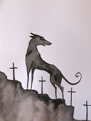 Four Of Swords. The End Of Conflict. Sienna Mayfair Original Dog Tarot Painting