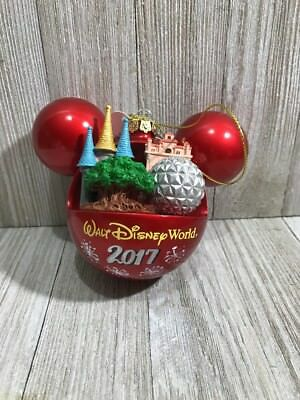 New DISNEYLAND RESORT ICONS red ORNAMENT Mickey Mouse Ears