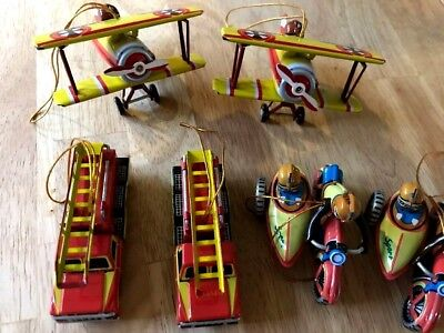 6 Collectible Tin Hanging Ornaments, Cars, Planes, Motorcycle With Side Car