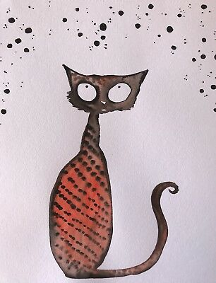 Free Post. Oh, To Be Made Of Stars. Sienna Mayfair Original Cat Art A4 Painting
