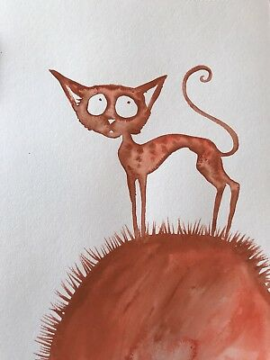 Free Post. Looking For The Angel. Sienna Mayfair Original Cat Art A4 Painting