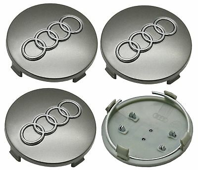 for Audi Wheel Center Cap Car Emblem Badge Logo Cover Hub Grey 60mm 4pcs/set