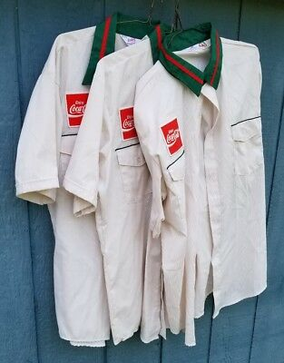 Lot of Three Vintage Enjoy Coca Cola Employee Uniform Shirts Advertising Patch
