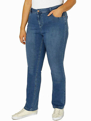 New Womens Evans Denim Blue Jeans Pear Fit Straight  Leg Trouser Plus Size 14-32