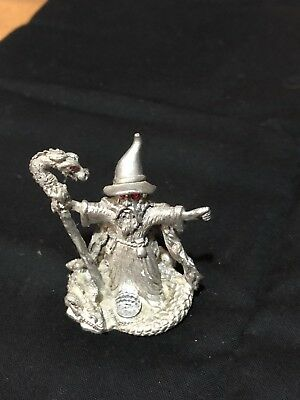 Pewter wizard with dragon and staff