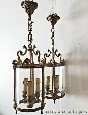 Antique French Parisian Lanterns - A Rare Pair Louis Style Brass & Glass - OF568