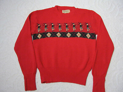 Vintage 1950's Red Sweater Scottish Dancers Scotland Wool St. Enoch
