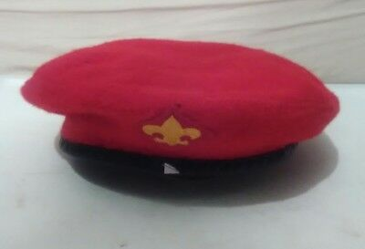 vintage XL official headwear wool Boy Scouts of America red beret hat