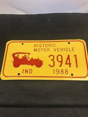 Rare Non Issued Plate Historic Motor Vehicle INDIANA 1988 Yellow 3941  NOS