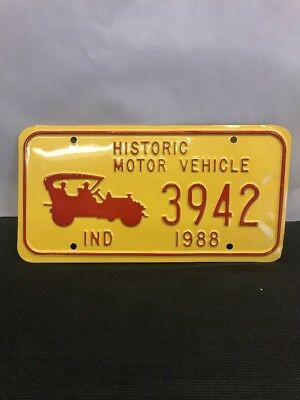 Rare Non Issued Plate Historic Motor Vehicle INDIANA  1988 Yellow 3942 NOS