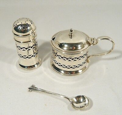 Antique 1913 STERLING Silver Suckling  MUSTARD POT Salt or PEPPER Pot Condiment
