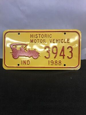 Rare Non Issued Plate Historic Motor Vehicle INDIANA  1988 Yellow 3943  NOSo