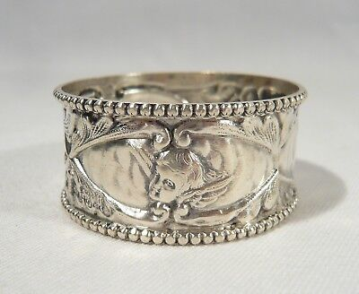 RARE Boots Drug Co. Antique 1907  Winged Cherub Heads NAPKIN RING Jacob's Choir