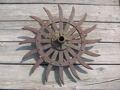 "JD Rotary Hoe Wheel Sunflower Yard Garden Wall Art SteamPunk 19"", 4"" hub fancy"
