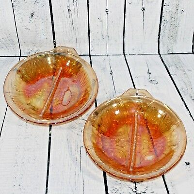 """Indiana Amber Peach Carnival Glass 8"""" Divided Relish Serving Candy Dish Lot Of 2"""