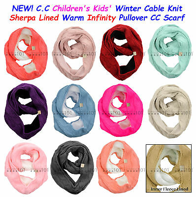 C.C CHILDREN's Winter Cable Knit Sherpa Lined Warm INFINITY Pullover CC Scarf