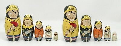 Lot 2 Vintage Wood Nesting Firemen Fireman Firefighter Doll Set SCP