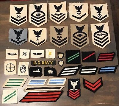 WW2 US Navy Patch Lot Of 35 Rate Rating Specialty Marks Wool White Blue CPO USN