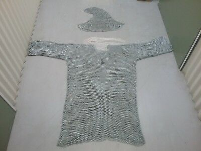 Steel Chain Mail Armour & Coif (Hood) - Used - approx. 15-20kg.