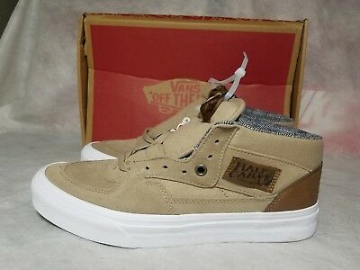 1abb8fe04526b2 New Vans Half Cab C L Men Size 8 Suede Leather White Brown Canvas Skate Shoe
