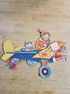 Early 1900's Antique Valentine Mechanical Airplane Kitty Marked Made In Germany
