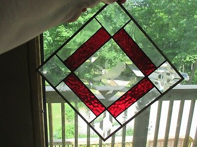 """Stained Glass Window Hanging Panel 8"""" X 8"""" Beveled Etched Bird"""