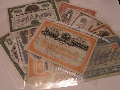 Mixed Lot Of 10 Old Stock Certificates 1800S & 1900S Railroad Mines & More