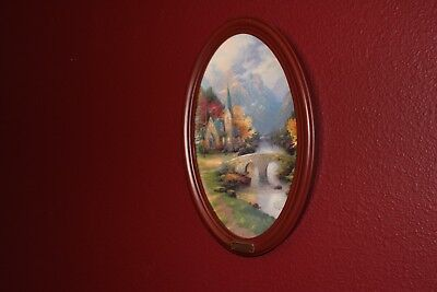 Thomas Kinkade The Light of Peace Plate with Wooden Frame Bradford Exchange