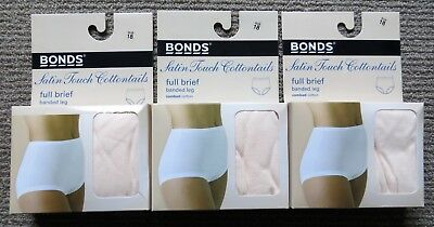 3 Pairs Of Bonds Satin Touch Cottontails Full Briefs Skintone Size 18 - Bnib