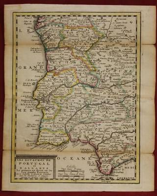 Portugal 1750 George Louis Le Rouge Antique Original Copper Engraved Map
